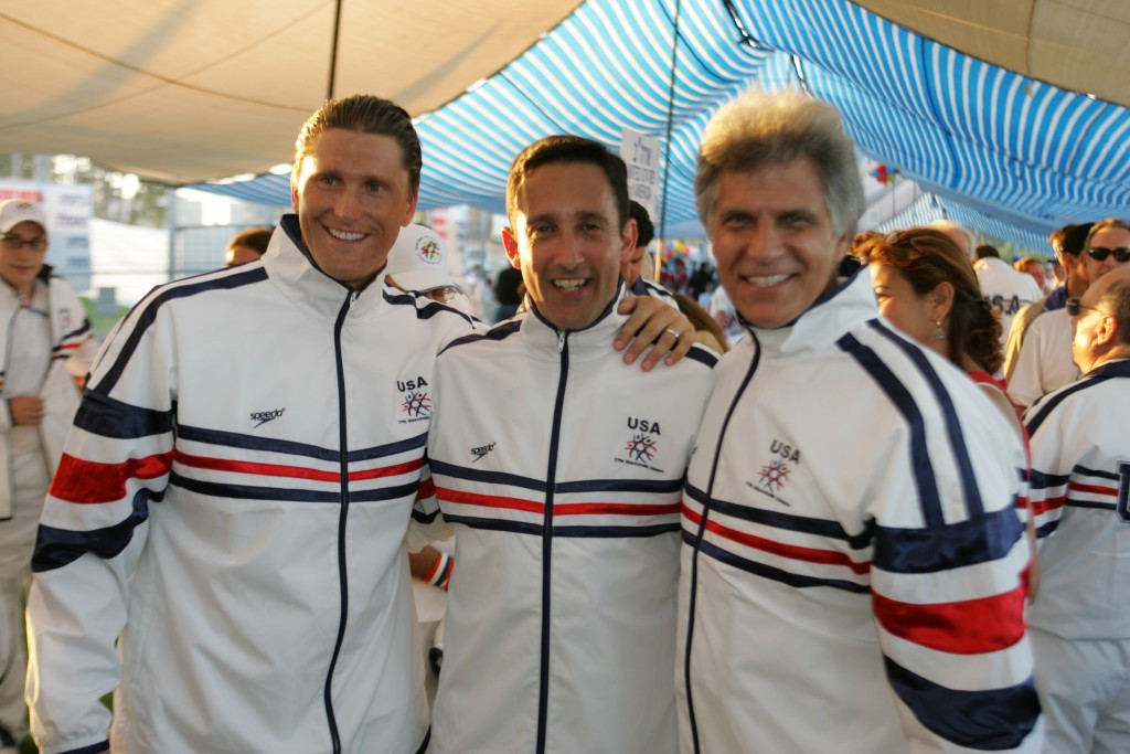 With Mark Spitz and Lenny Krayzelberg at 2005 Opening Ceremony